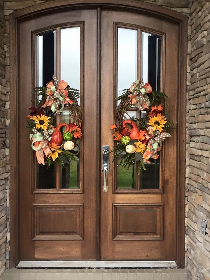 Harvest Wreaths For Double Doors From Southern And Sassy Door