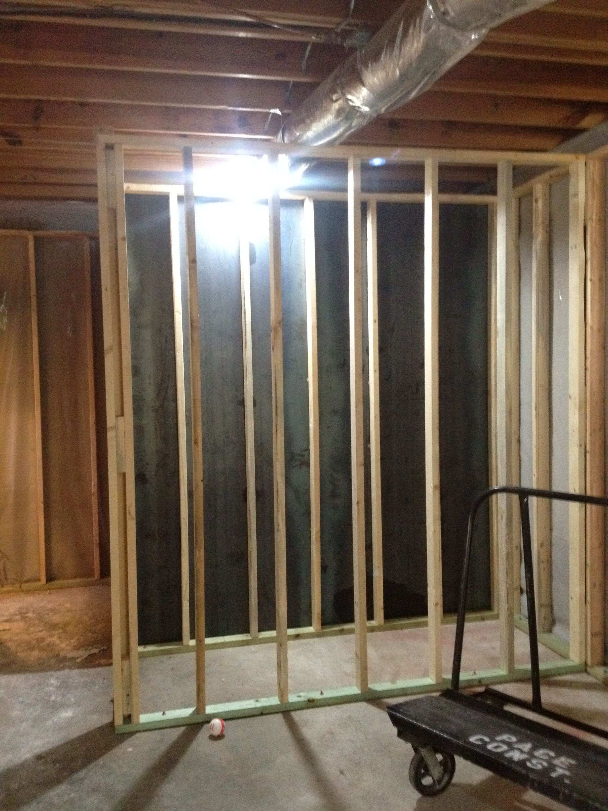 During the framing stage the bathroom wall was reinforced for How to build a safe room in your basement