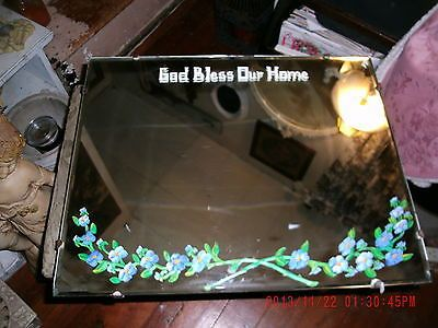 Vintage Antique 1940s Wall Mirror God Bless Our Home