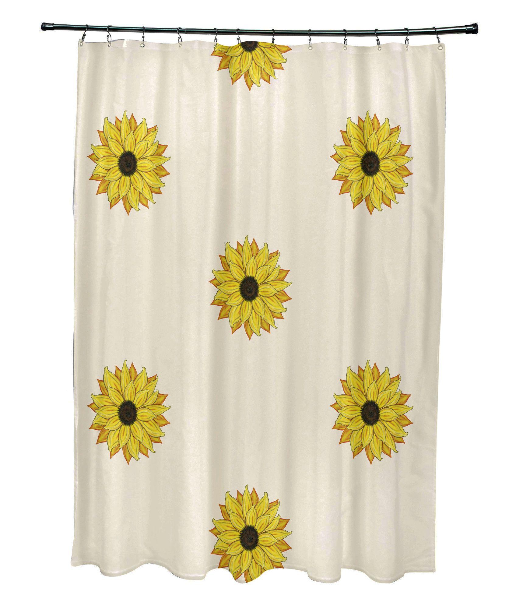 Vieux Sunflower Frenzy Flower Print Single Shower Curtain Shower