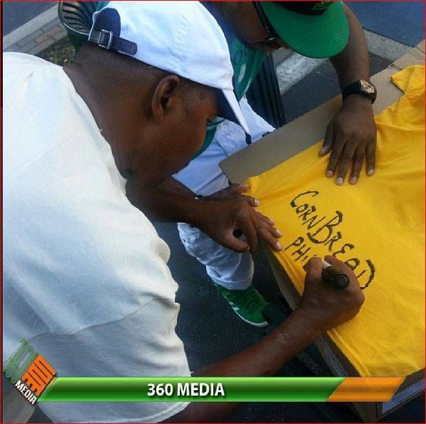Philly's own The Godfather of Graffiti Cornbread autographs his tshirt at the Graffiti Hall Of Fame in Harlem