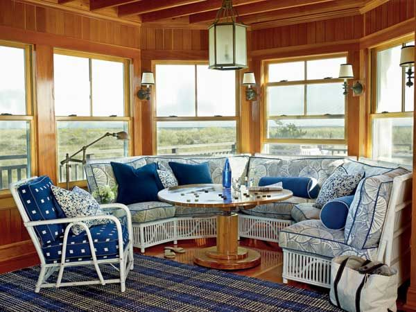 Nautical Navy Living Room A And White Wraparound Sofa Gives Personality