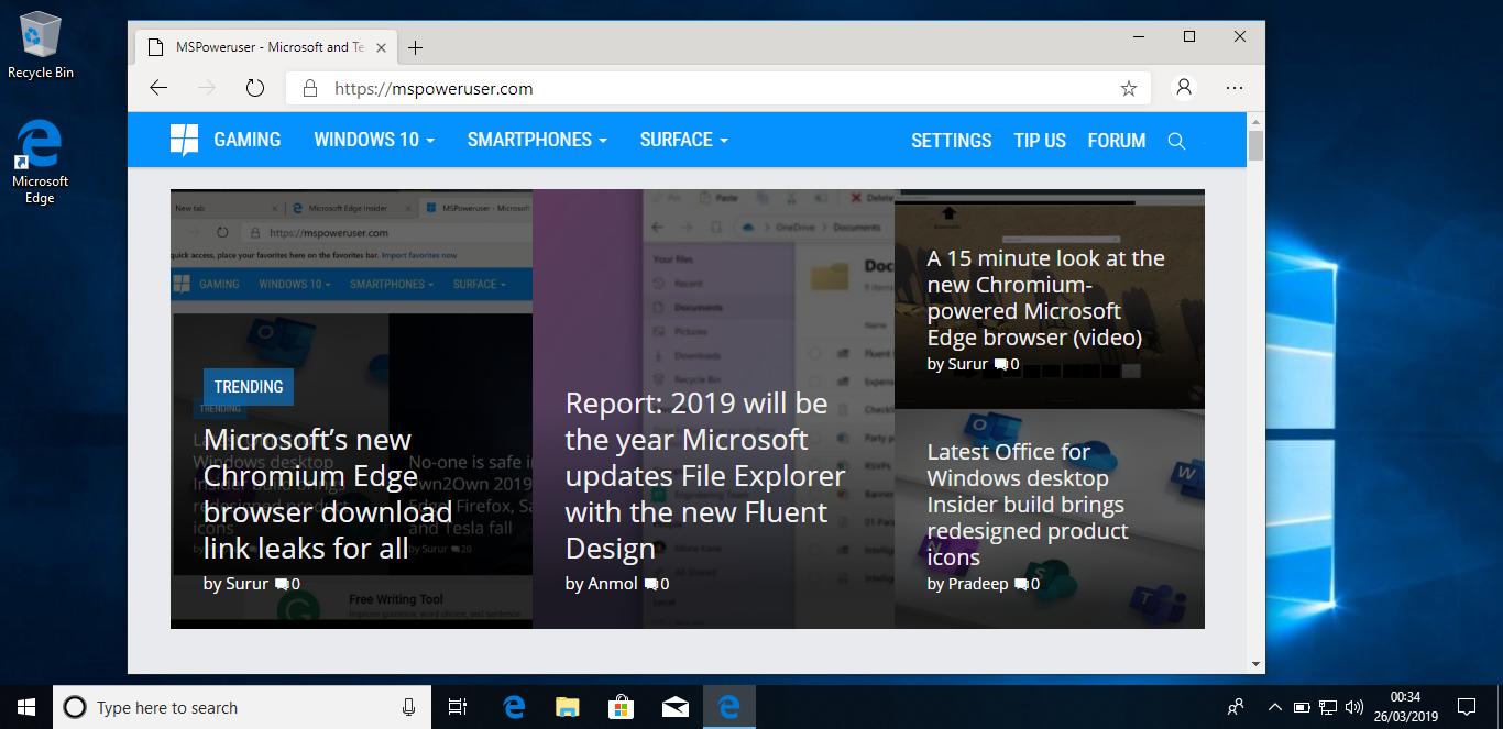 Zoom sur Microsoft Edge pour Windows 10 à base de chrome