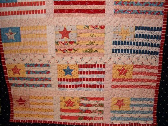 FREE SHIPPING Bright, Beachy, Summertime Quilt with 4th of July, Patriotic, and Cottage feel fabric from Moda.