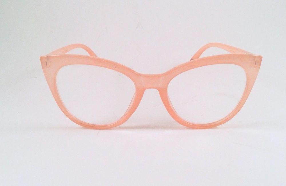 78cb143524 Betsey Johnson Reading Glasses Light Blush Pink Large Cat Eye Readers +1.50   BetseyJohnson
