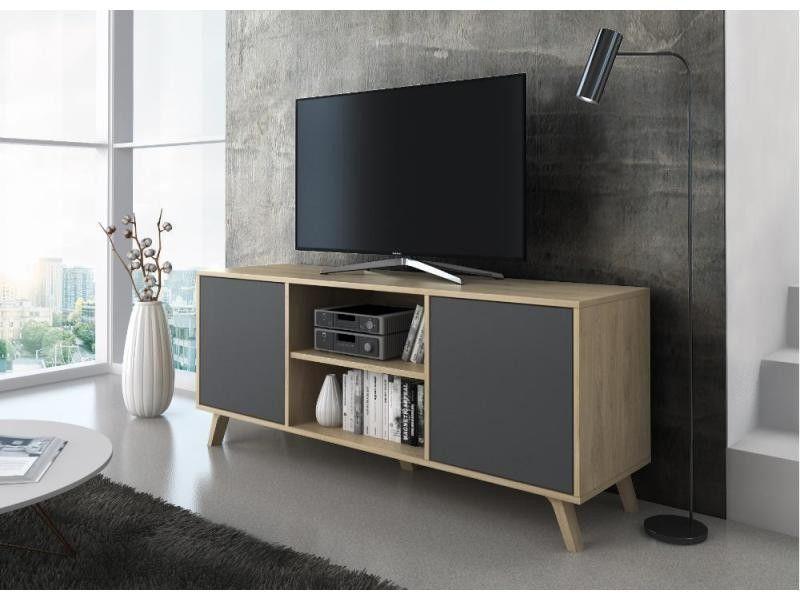 Meuble Tv 140 Avec 2 Portes Salon Modele Wind Couleur Structure