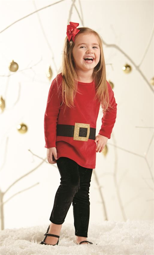 Mud Pie Christmas Holiday Santa Tunic and Legging Set