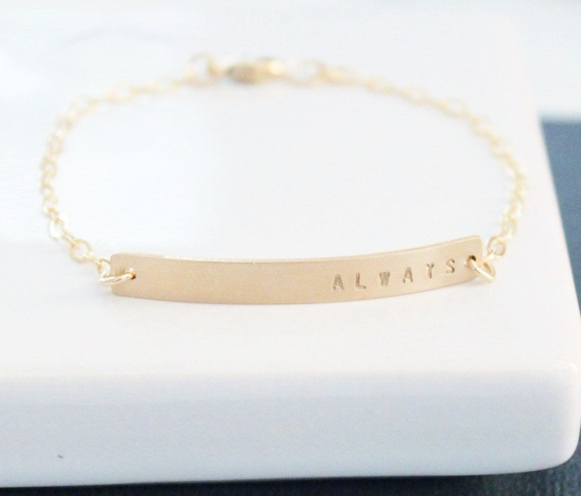 Dainty Gold Nameplate Bracelet Bar Personalized Hand Stamped