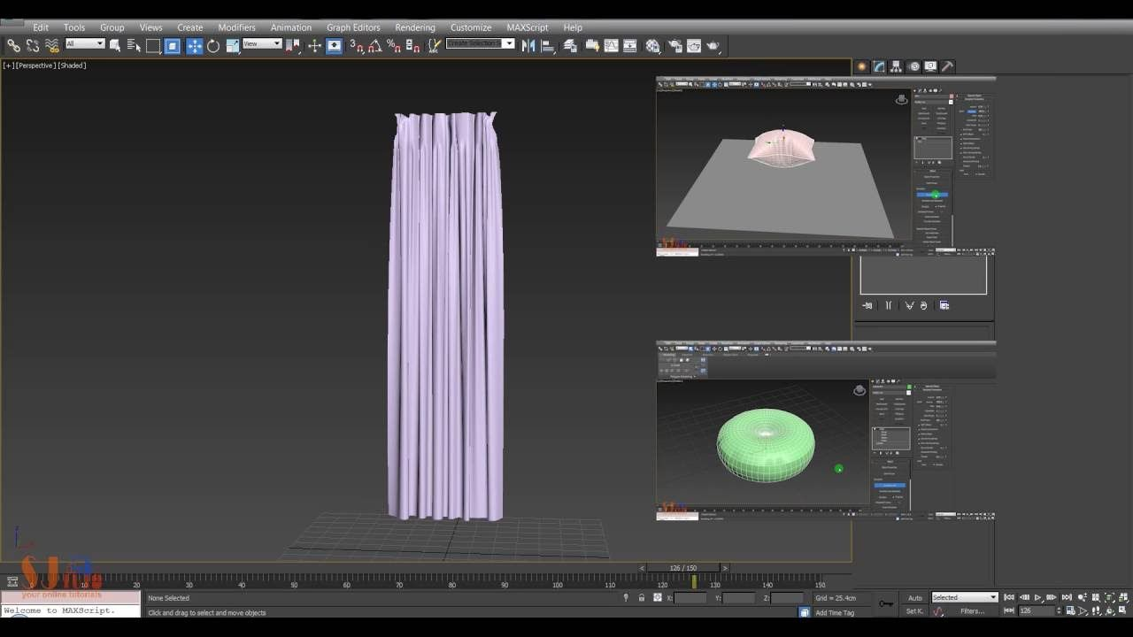3DS MaX Tutorial - Modeling Curtain using Cloth simulation