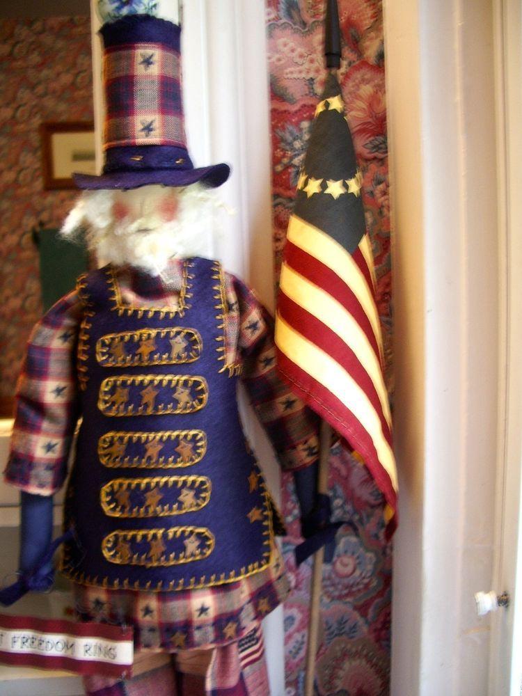 """Primitive Folk Art  Doll- Uncle Sam 26""""- Patriotic Uncle Sam LET FREEDOM RING"""
