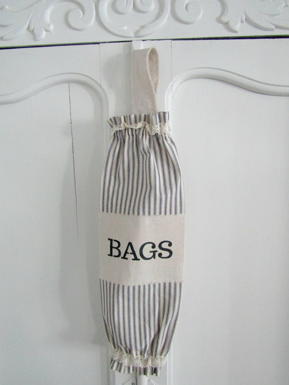 Farmhouse Bag Holder Stripes And Ticking Plastic Bag Etsy Plastic Bag Storage Bag Holder Plastic Bag Holders