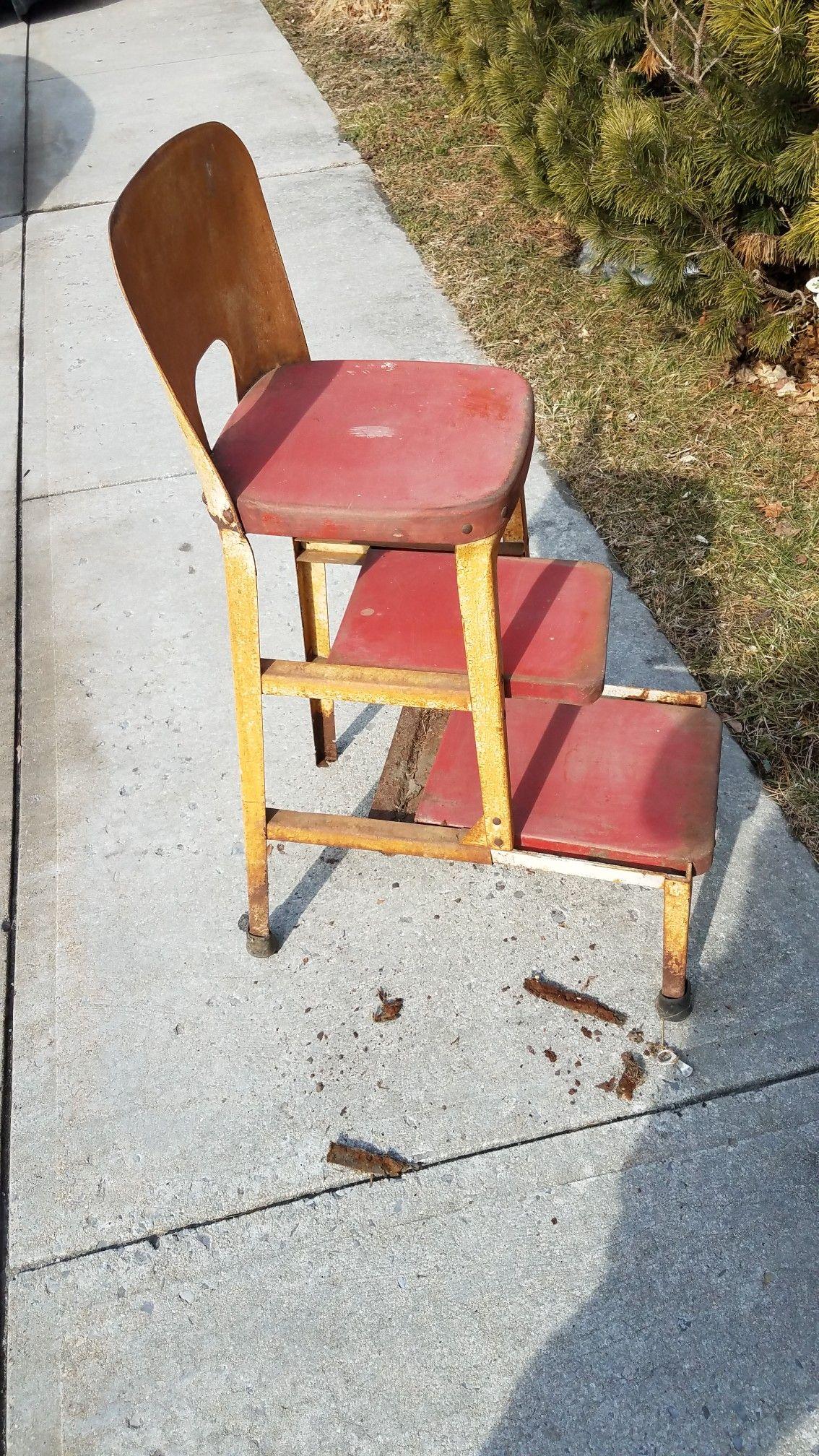 Incredible Vintage Metal Kitchen Step Stool Steps Slide Out Of Frame Uwap Interior Chair Design Uwaporg