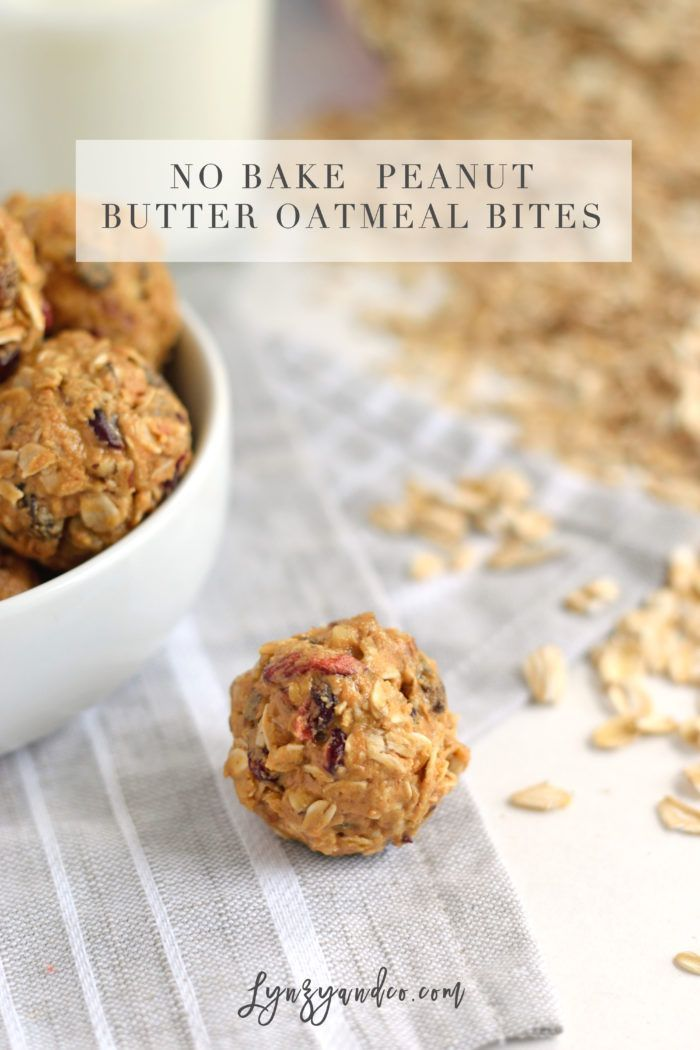 These no bake peanut butter oatmeal bites are the perfect snack for busy moms on the go. Whether for you or your kids, they are healthy & delicious! // Quick Snacks for kids via Lynzy & Co.