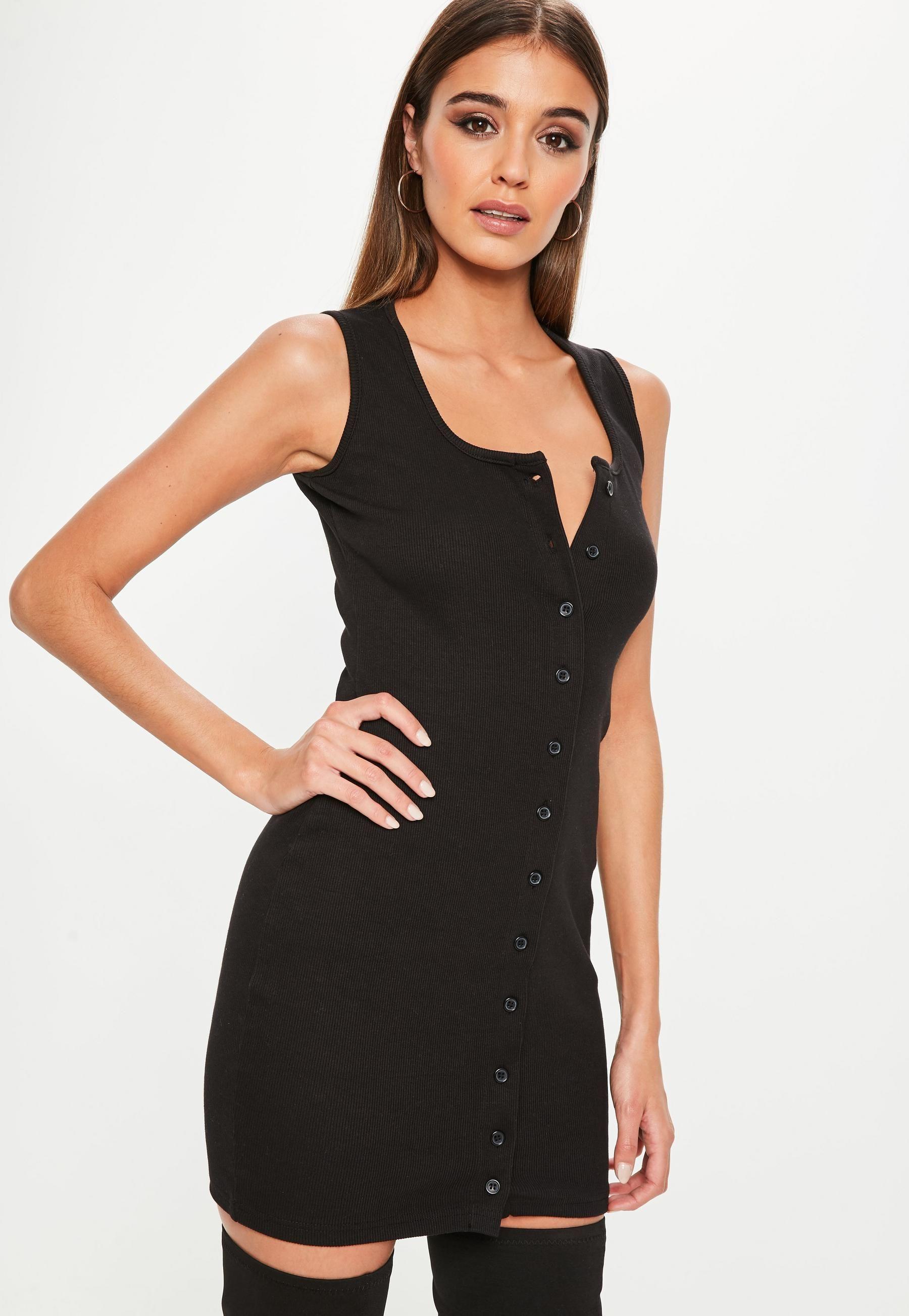 dbc26de2a8d Black Sleeveless Ribbed Button Down Mini Dress | Missguided | SKIRTS ...