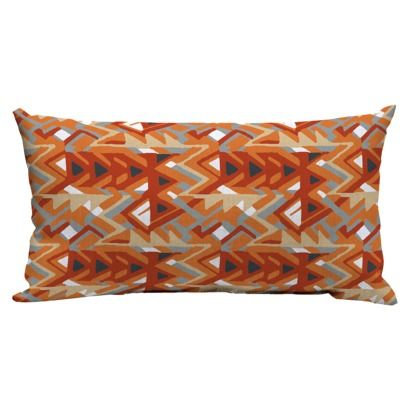 Room Essentials Outdoor Lumbar Pillow Tribal Triangle Orange