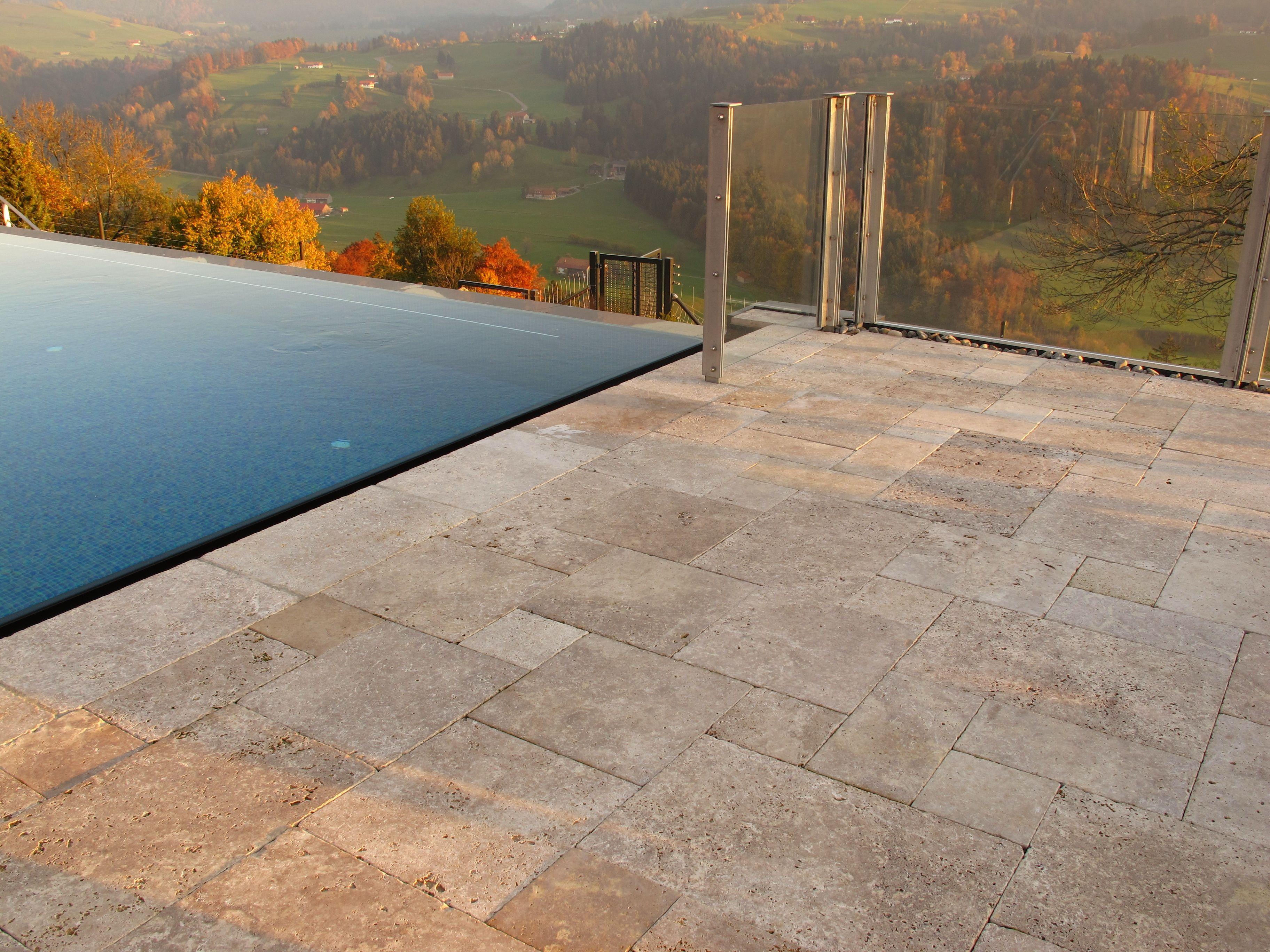 Travertin Terrassenplatten diese schönen terrassenplatten im farbton noce sind in einem