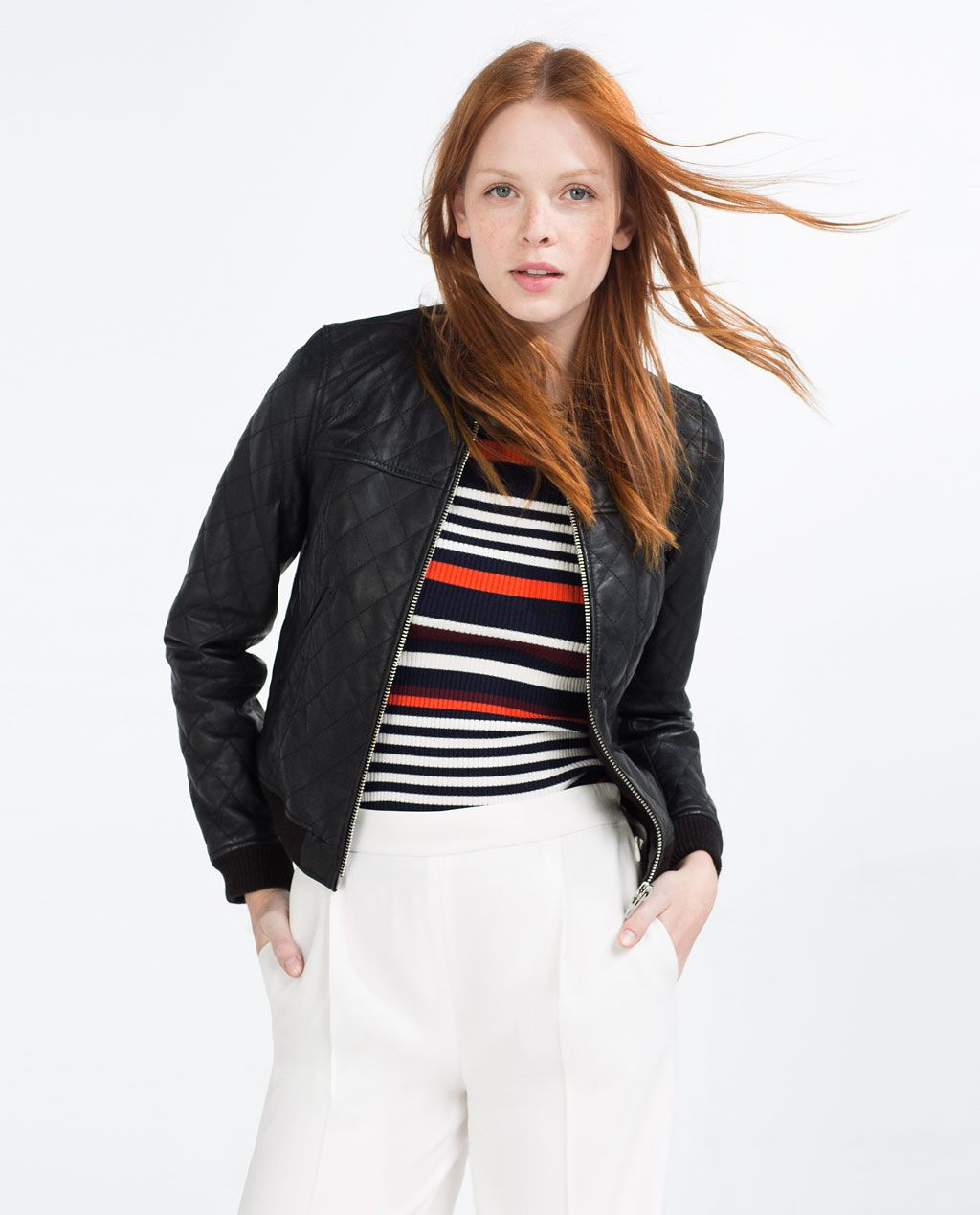 Leather Bomber Jacket View All Leather Woman Zara Bomber Jacket Leather Bomber Leather Bomber Jacket [ 1269 x 1024 Pixel ]