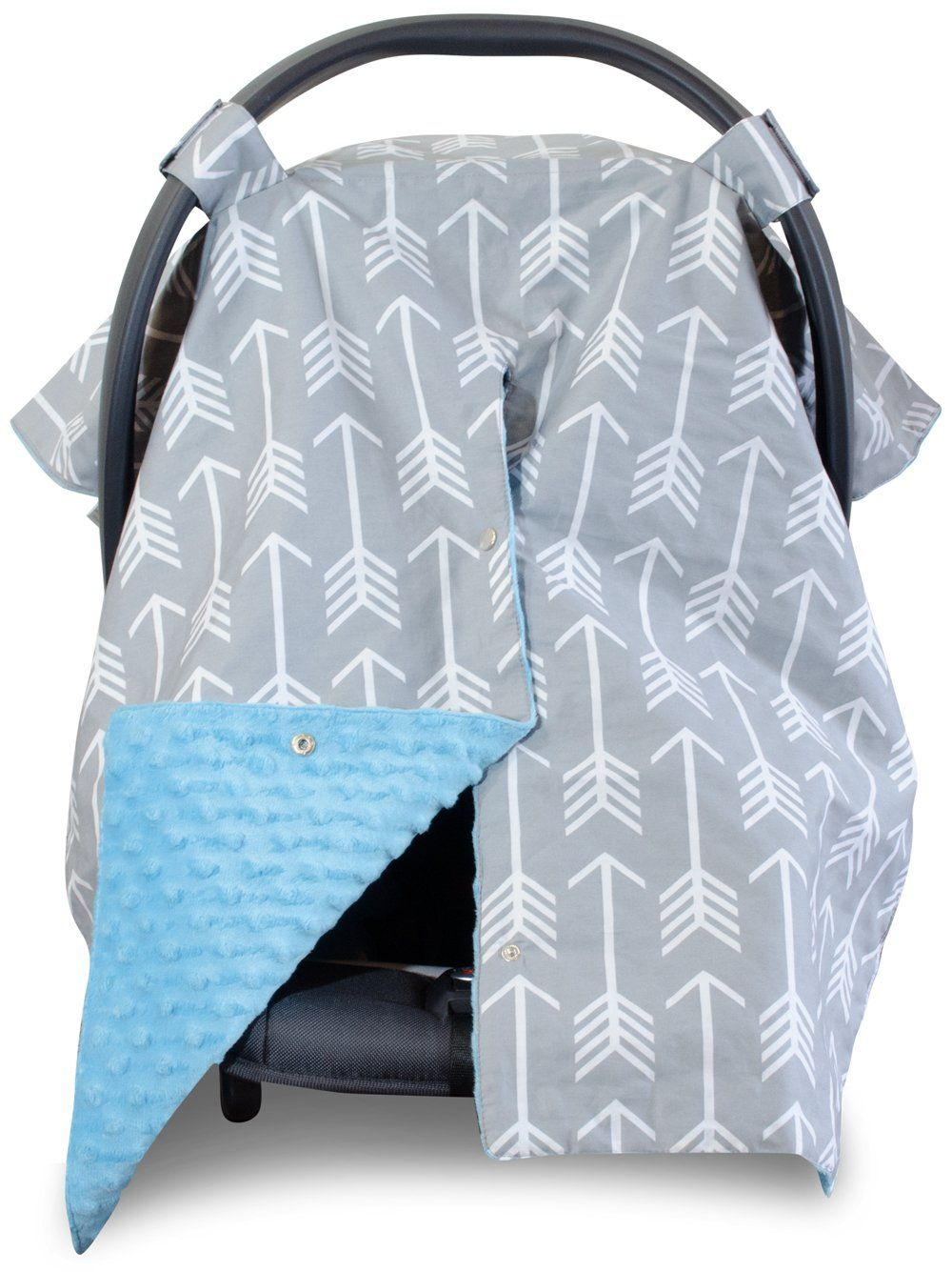 Amazon Premium Carseat Canopy Cover With Peekaboo Opening Large Arrow Print Grey Dot Minky