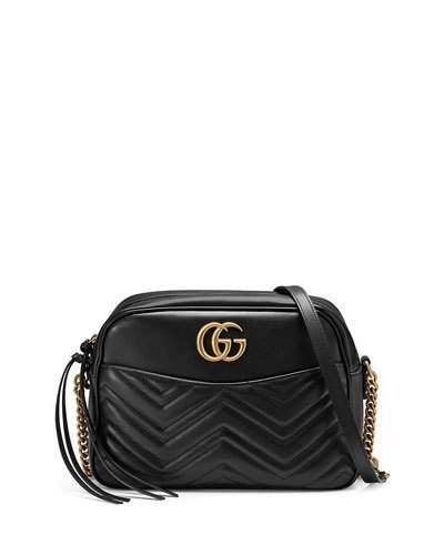 972b678eebb9e1 GUCCI Gg Marmont 2.0 Medium Quilted Camera Bag, Black. #gucci #bags  #shoulder bags #leather #lining #