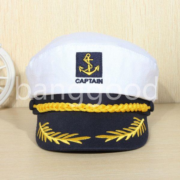 80e5c20ca8d Vintage White adjustable Skipper Sailors Navy Captain Boating Military Hat  Cap Adult Party Fancy Dress Unisex