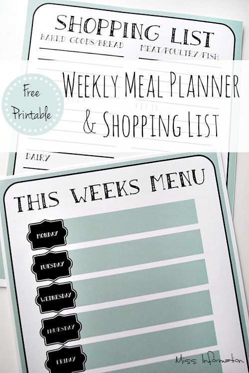 Weekly Menu Planner Weekly menu planners, Menu planners and
