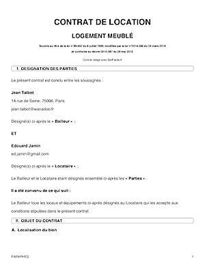 Contrat De Location Meublee Modele Gratuit Conforme 2019