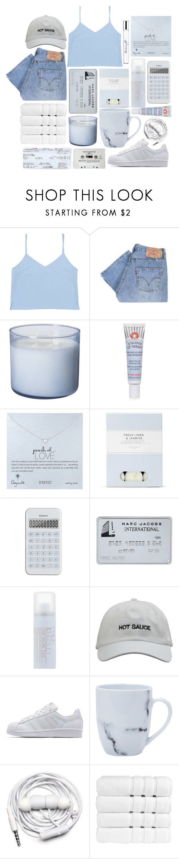 """""""I promise"""" by queen-elizabeth2000 ❤ liked on Polyvore featuring Levi's, First Aid Beauty, Dogeared, Laura Ashley, Philip Kingsley, CASSETTE, adidas Originals, Urbanears, Christy and philosophy"""