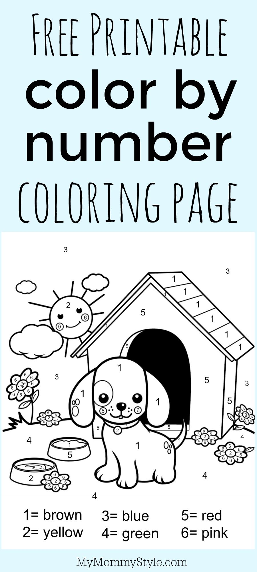 Color by number coloring page free printable Numbers