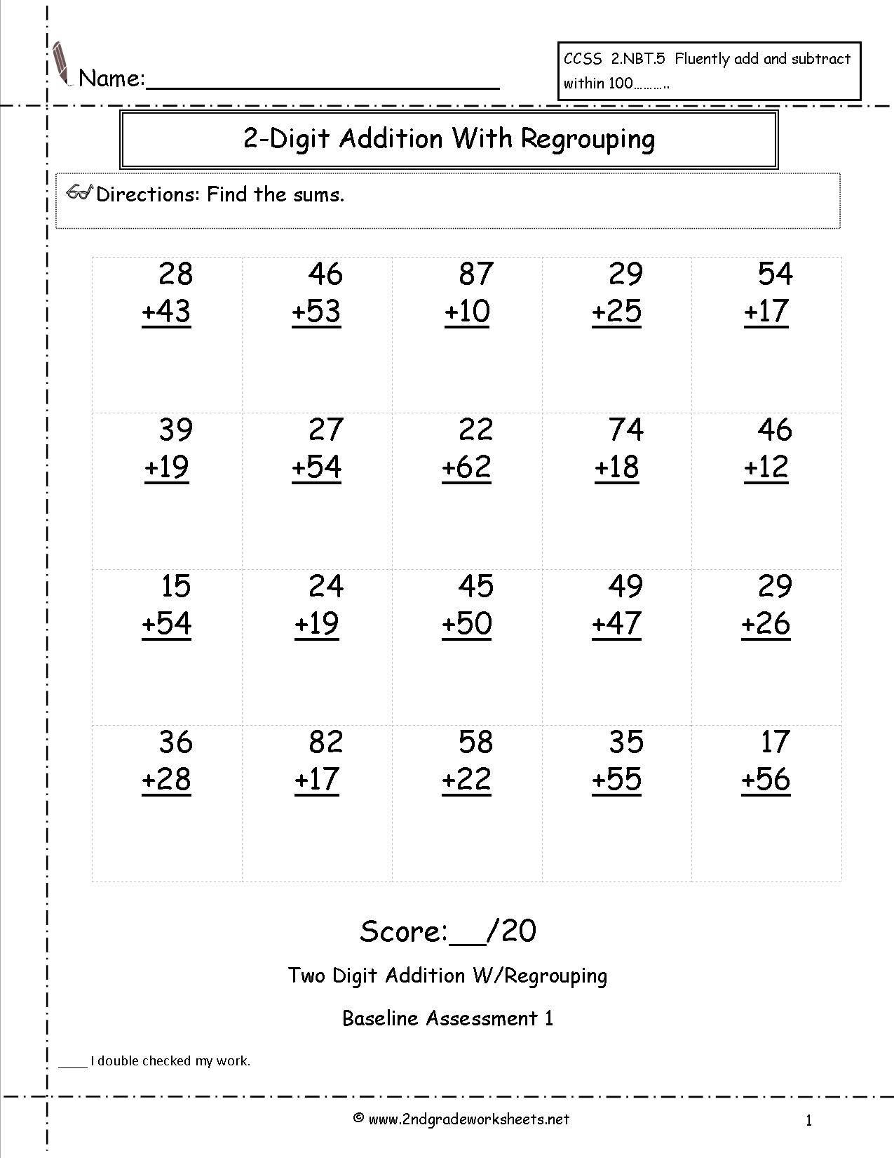 worksheet Math Aids Addition And Subtraction two digit addition with regrouping assessment love to learn assessment