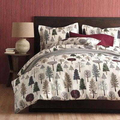 Winter Themed Flannel Sheets Bedding Set With A Wintry Forest Of Bare Branched Trees And Evergreens Cozy 5 Oz Flannel Duvet Cover Flannel Duvet Duvet Covers