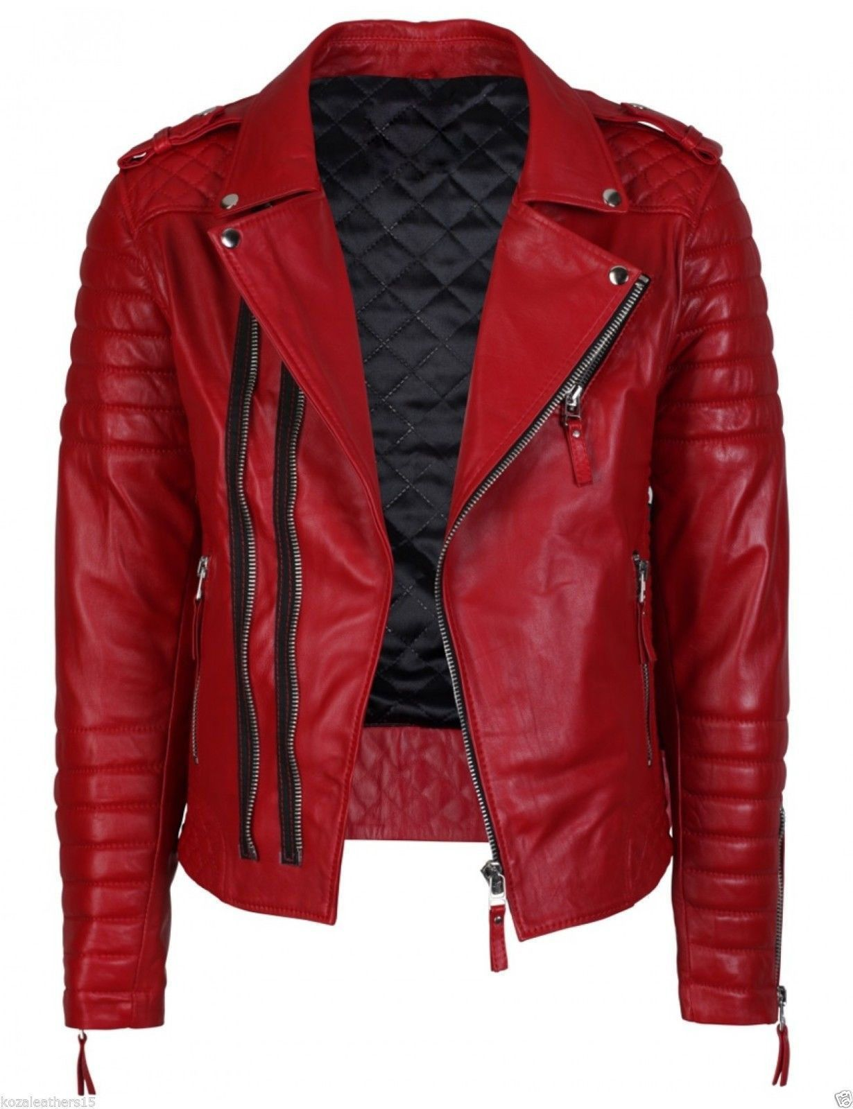 Men/'s Quilted Red and Black Faux Leather Designer Motorcycle Biker Jacket