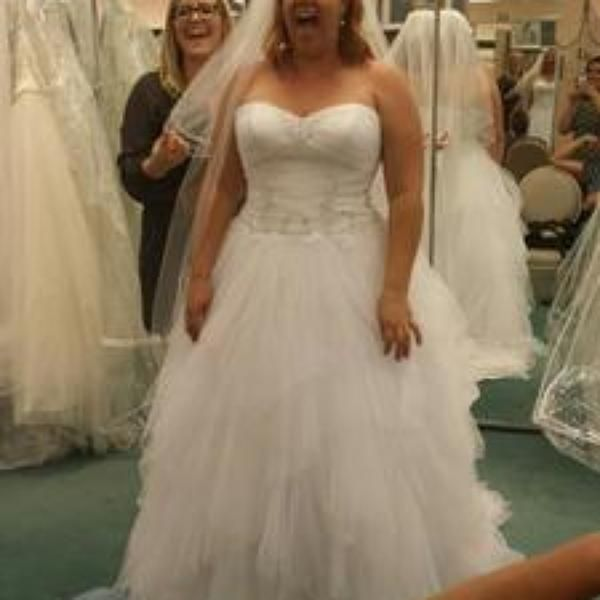 David S Bridal Plus Size Wedding Gowns: Jewel Tiered Tulle Beaded Plus Size Wedding Dress