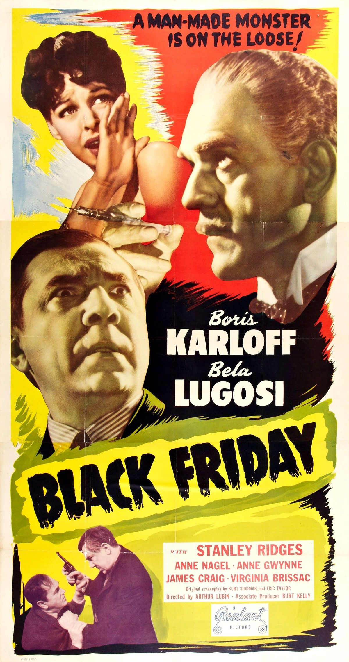 Boris Karloff Bela Lusosi Black Friday Movie Poster V2 Classic Horror Movies Posters Black Friday Poster Boris Karloff Movies