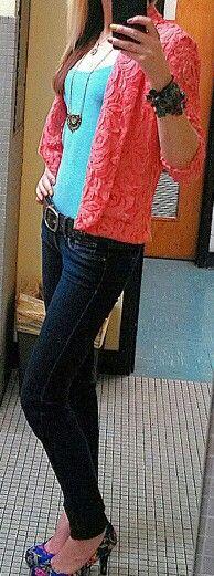 Blazer, skinnies and heels. My favorite outfit!