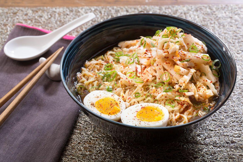 Kimchi & Barley Miso Ramen with Soft-Boiled Eggs & Asian ...