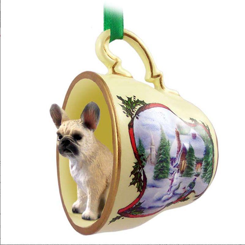 French Bulldog Dog Christmas Holiday Teacup Ornament Figurine Fawn ...