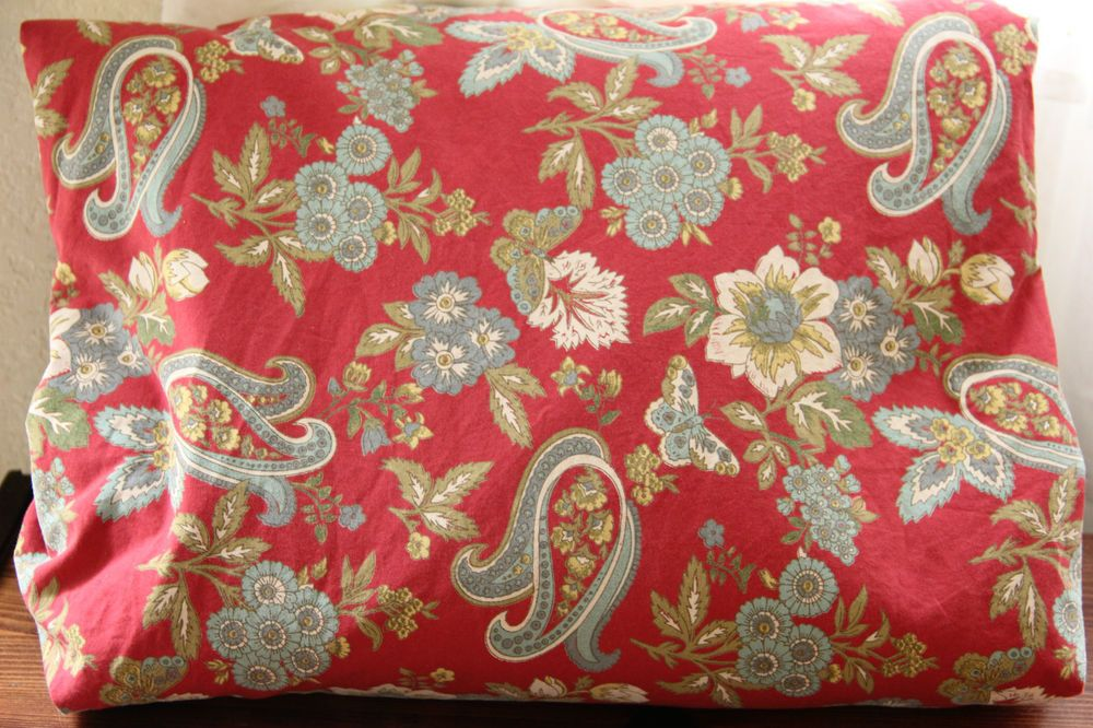 Retired Pottery Barn Red Floral Americana Paisley Duvet Cover King