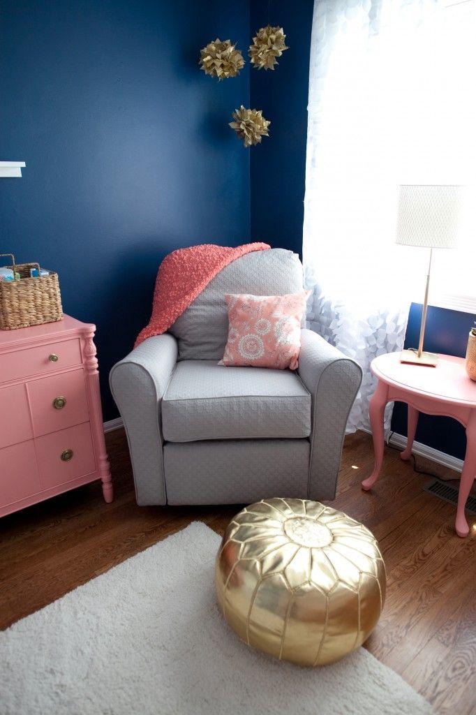 Elliott S Cobalt Coral Gold And Gray Nursery Girl Room