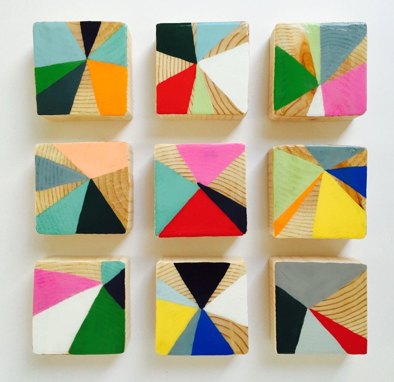 Mini pinwheels an original painted wood block wall art abstract