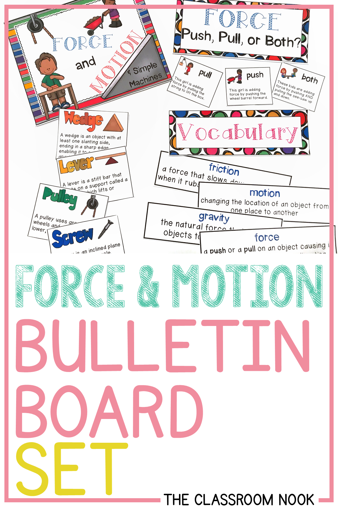 Force Amp Motion Simple Machines Bulletin Board Set
