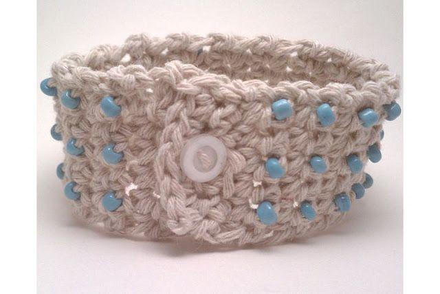 Crochet and bead bracelet