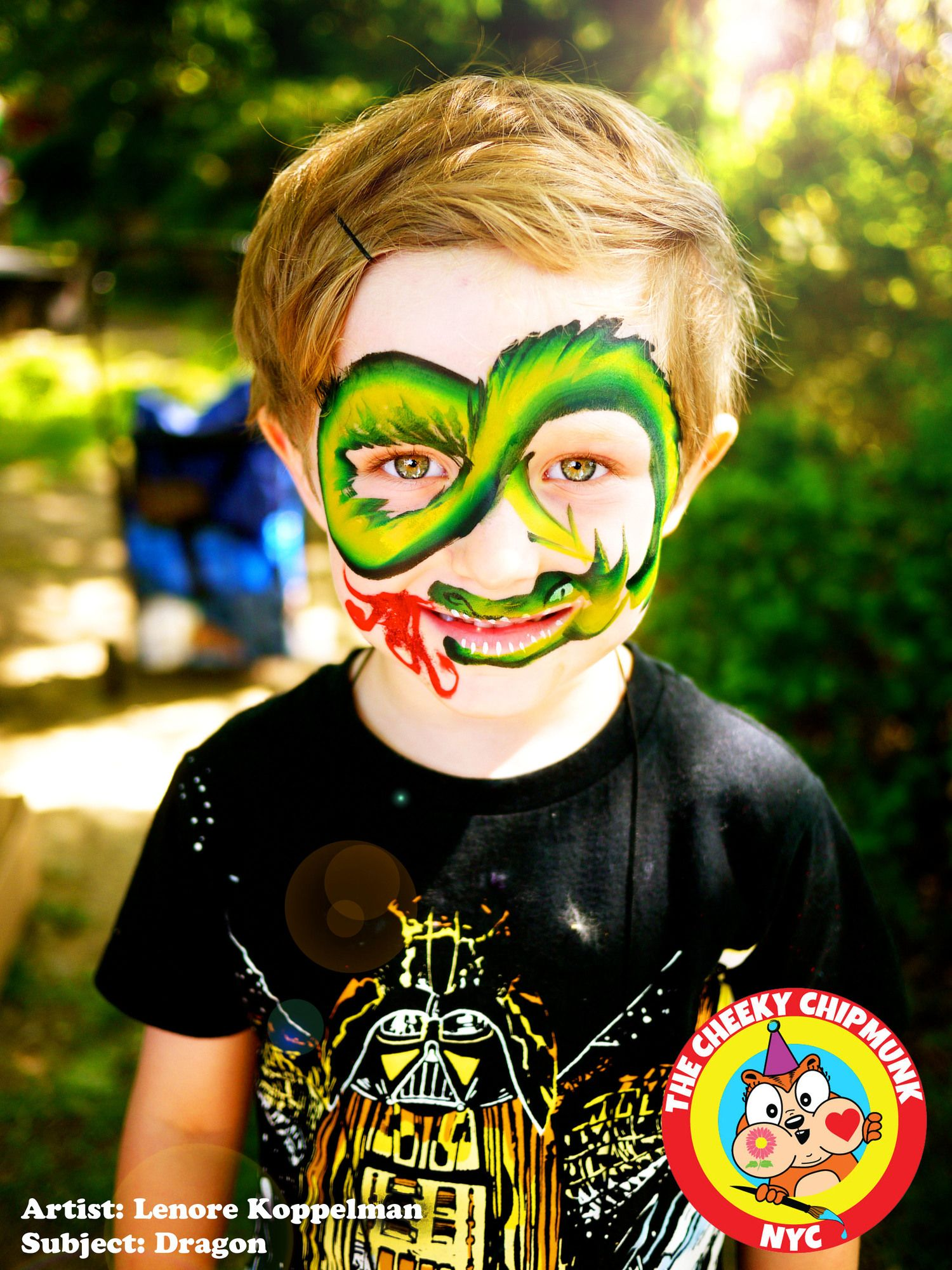 "Dragon Face Painting by artist Lenore Koppelman aka ""The Cheeky Chipmunk"", NYC"