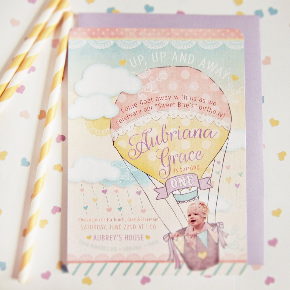 Hot Air Balloon Invitations First Birthday with by daydreamspaper