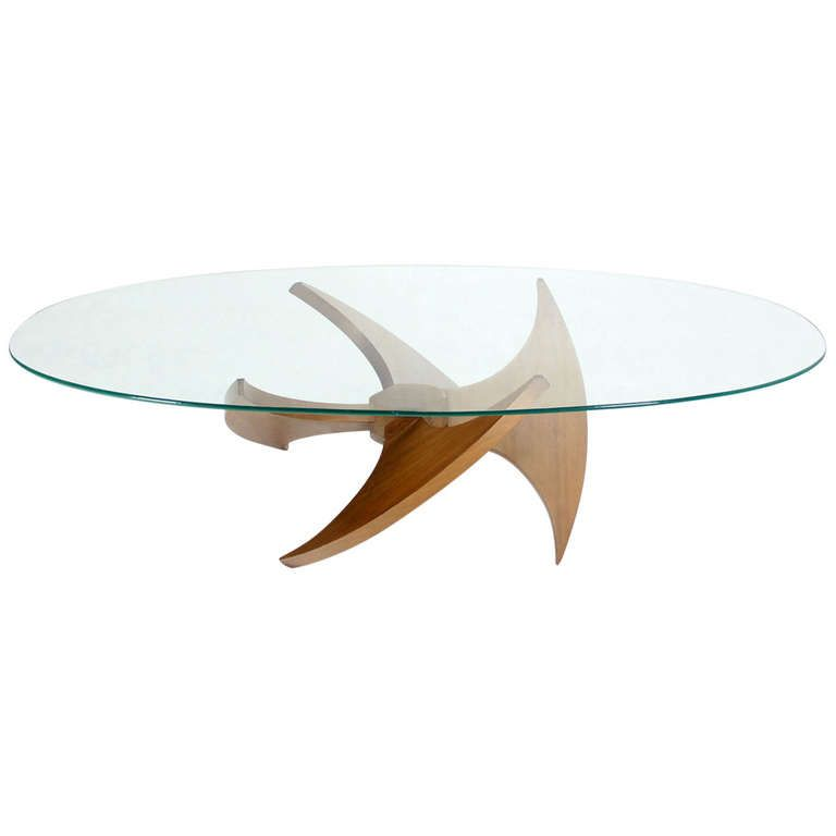 Walnut Propeller Base Oval Coffee Table With Glass Top Mid Century