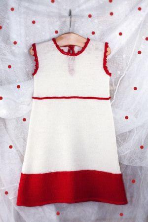 Vestitino bambina rosso e bianco in stile impero