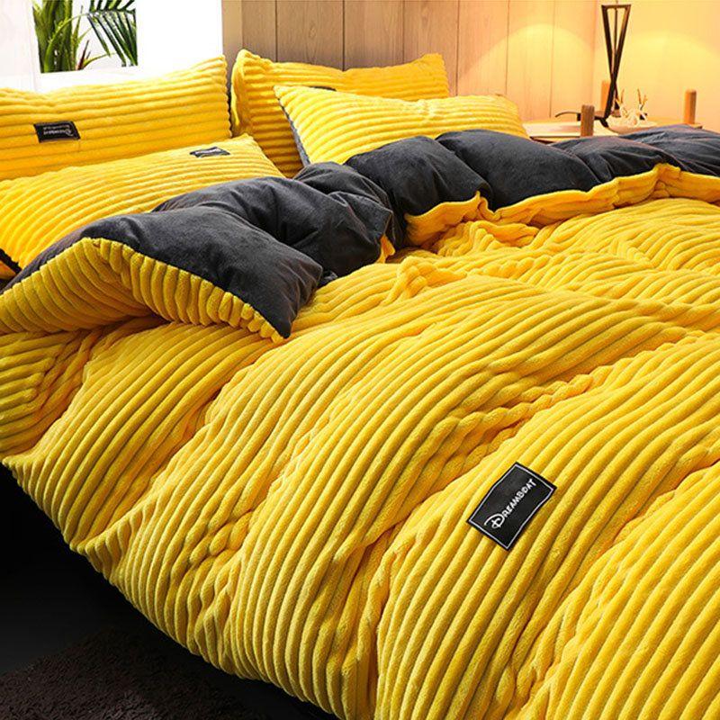 Wannaus Yellow Lemon Fresh Style Cotton 4 Piece Bedding Sets Duvet Cover Yellow Bedroom Decor Bed Decor Bedding Sets