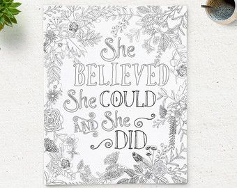 Printable Quote Coloring Page She Believed By ColoringPage