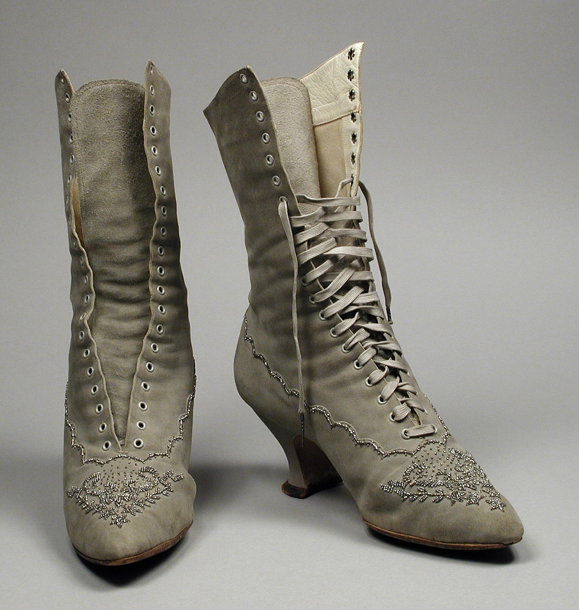 boots circa 1890 american suede leather and cut steel. Black Bedroom Furniture Sets. Home Design Ideas