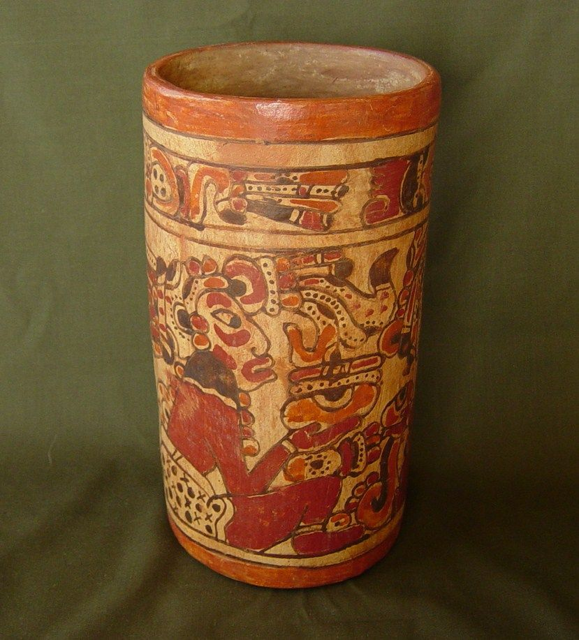 This Is A Museum Quality Reproduction Of A Mayan Cocoa Vase
