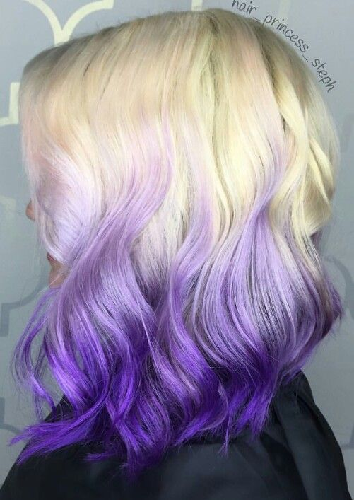 Blonde Ombre Purple Dyed Hair Color Hair Dye Tips Blonde Dye Purple Ombre Hair